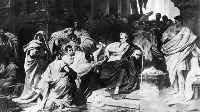 PHOTO: A painting by Carl Piloty illustrates March 15, 44 BC, the murder of Julius Caesar in the senate of Rome.
