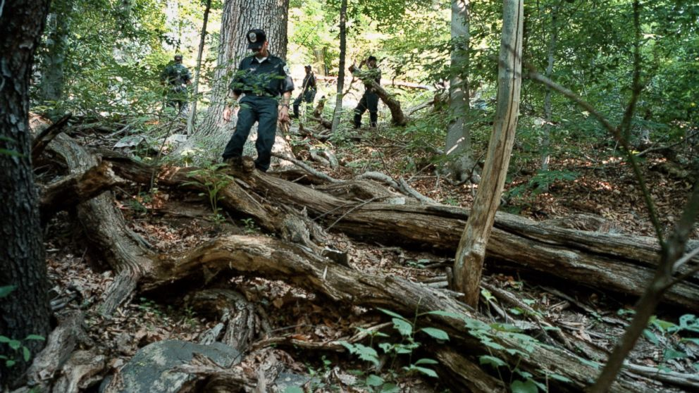 The ongoing search of Rock Creek Park for evidence relating to the disappearance of Chandra Levy. DC Police recruits work their way through the heavy underbrush just north of Piny Branch between 16th and Beach, July 17, 2001.
