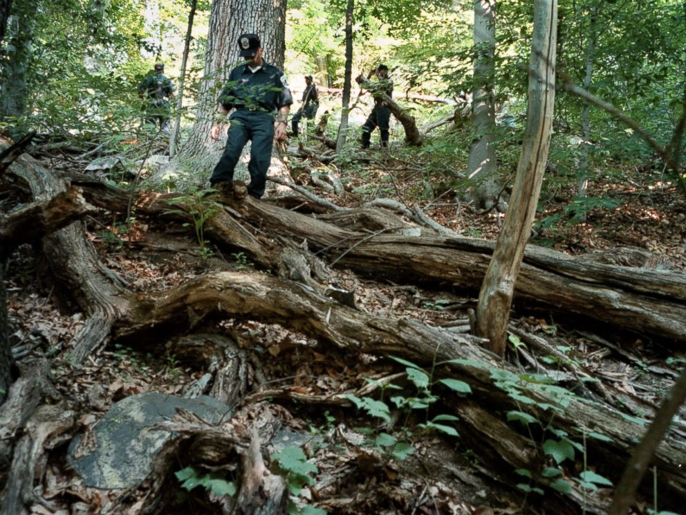 PHOTO: The ongoing search of Rock Creek Park for evidence relating to the disappearance of Chandra Levy. DC Police recruits work their way through the heavy underbrush just north of Piny Branch between 16th and Beach, July 17, 2001.