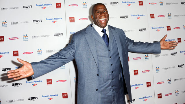 "PHOTO: Earvin ""Magic"" Johnson arrives at the premiere of ESPN Films ""The Announcement"" at Regal Cinemas L.A. Live, March 6, 2012 in Los Angeles, California."