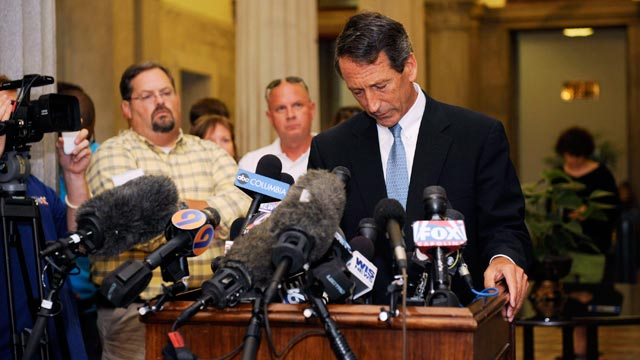 PHOTO: South Carolina Gov. Mark Sanford speaks during a press conference at the State Capitol on June 24, 2009, in Columbia, South Carolina.