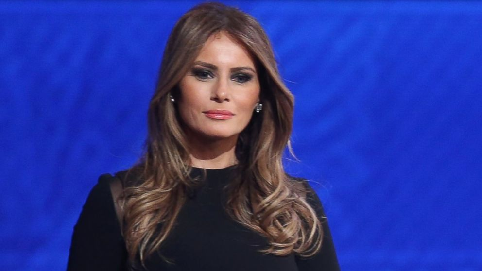 Melania Trump stands on stage following the Republican presidential debate at St. Anselm College, Feb. 6, 2016 in Manchester, N.H.