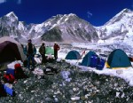 PHOTO: A group of trekkers setting up camp at Everest Base Camp.