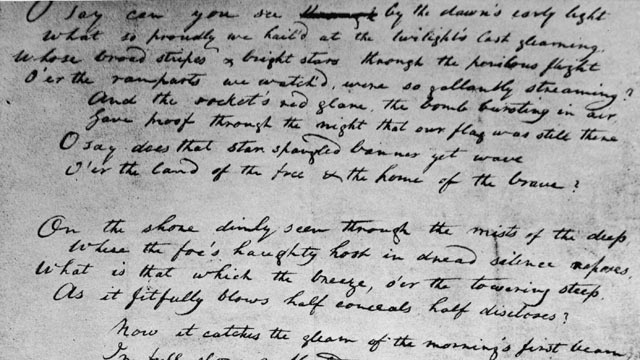 "PHOTO: American poet and attorney Francis Scott Key's original handwritten draft for ""The Star Spangled Banner,"" written in 1814 during the War of 1812."