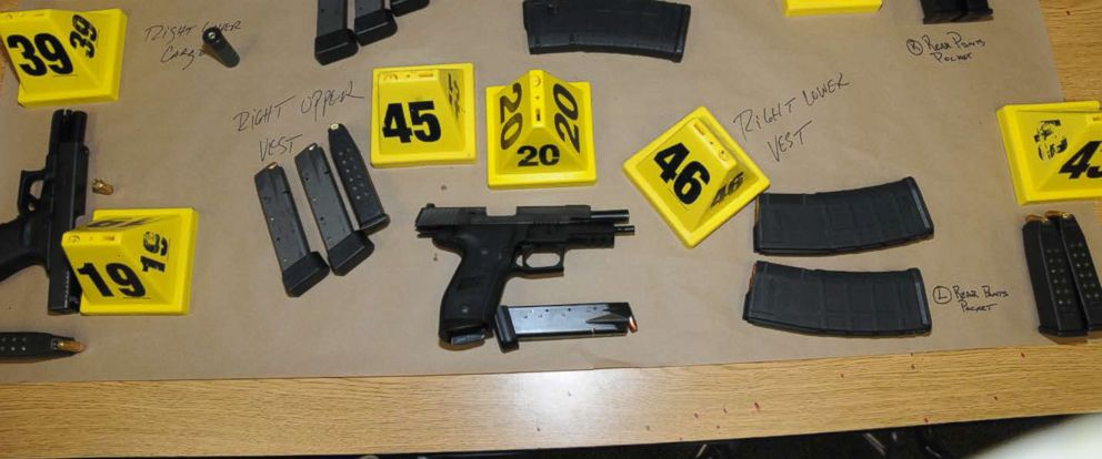 PHOTO: An undated police handout photo shows the firearms and ammunition found on or in close proximity to Adam Lanzas body at Sandy Hook Elementary School following the Dec. 14, 2012 shooting rampage.