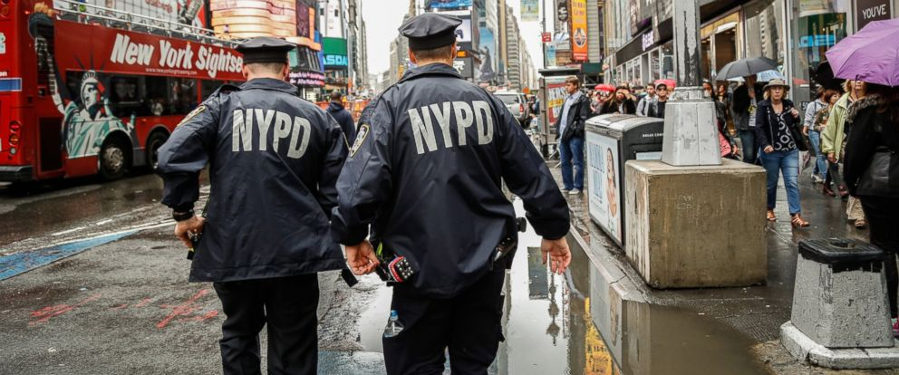 PHOTO: New York City Police officers patrol Times Square on Sept. 25, 2014.