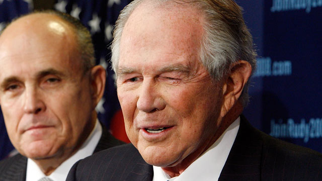 PHOTO: Conservative evangelical leader Pat Robertson announces his endorsement of former New York City Mayor Rudy Giuliani, Nov. 7, 2007, in Washington.