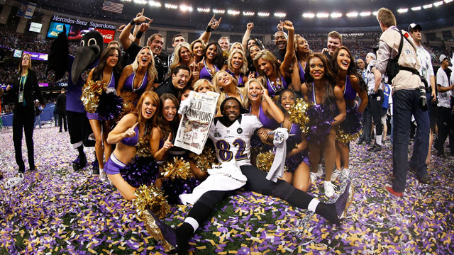 PHOTO: Torrey Smith #82 of the Baltimore Ravens celebrates with the Ravens cheerleaders following their win against the San Francisco 49ers during Super Bowl XLVII at the Mercedes-Benz Superdome on February 3, 2013 in New Orleans, Louisiana.The Ravens def
