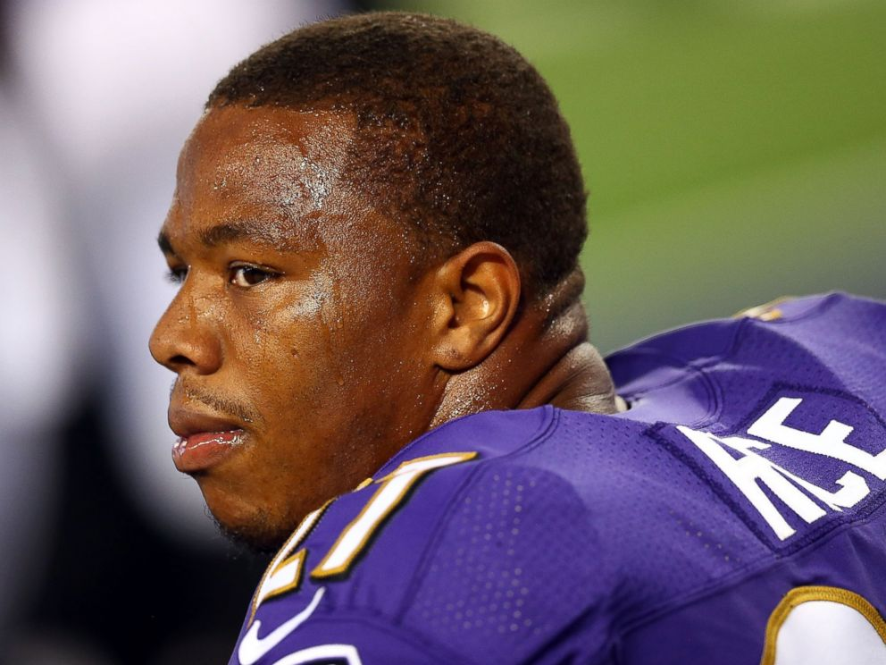 PHOTO: Ray Rice of the Baltimore Ravens sits on the bench against the Dallas Cowboys at AT&T Stadium on Aug. 16, 2014 in Arlington, Texas.