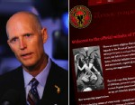PHOTO: Florida Governor Rick Scott speaks to the media after touring the manufacturing facility at Beckman Coulter, Jan. 10, 2013 in Miami. A screenshot of the official website for the Satanic Temple is shown.