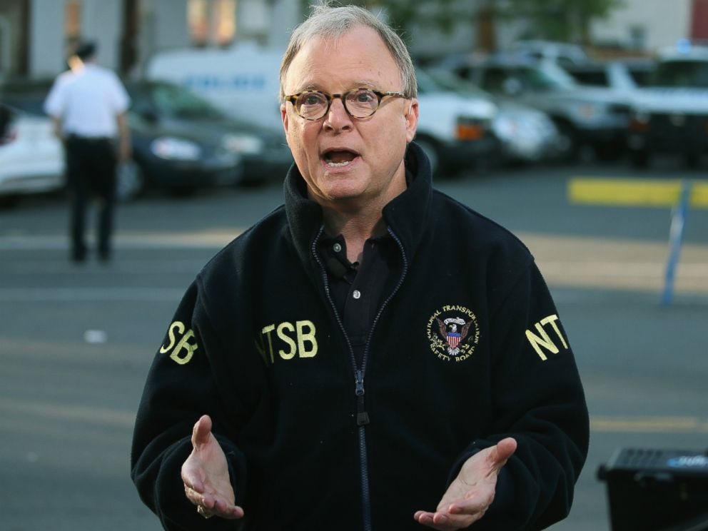 PHOTO: NTSB member Robert Sumwalt speaks about the Amtrak crash during a television interview near the site of a train derailment, May 14, 2015 in Philadelphia.