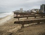 PHOTO: Supports for the Rockaway boardwalk sit on the beach, after it was was heavily damaged in Hurricane Sandy on April 29, 2013 in the Queens borough of New York City.