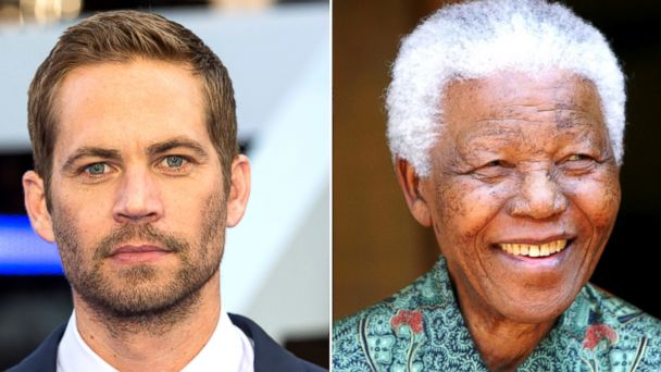 PHOTO: Paul Walker is seen in this May 7, 2013 file photo while former South African President Nelson Mandela is seen in this Sept. 22, 2005 file photo.