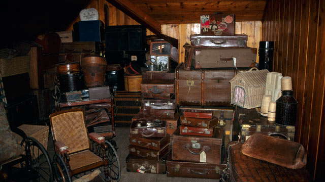 PHOTO: A display of leather luggage, trunks and suitcases in storage.