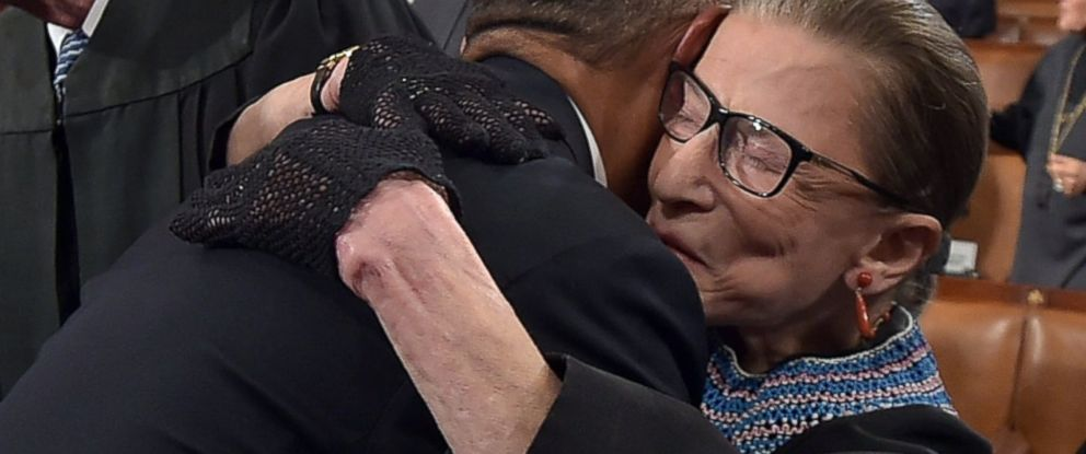 PHOTO: President Barack Obama hugs Supreme Court Justice Ruth Bader Ginsburg as arrives to deliver the State of the Union address on Jan, 20, 2015 at the U.S. Capitol in Washington, DC.
