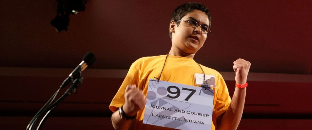 PHOTO: Sameer Mishra of West Lafayette, Indiana celebrates after he correctly spelled his word during round seven of the 2008 Scripps National Spelling Bee at the Grand Hyatt Washington Hotel May 30, 2008 in Washington, D.C.