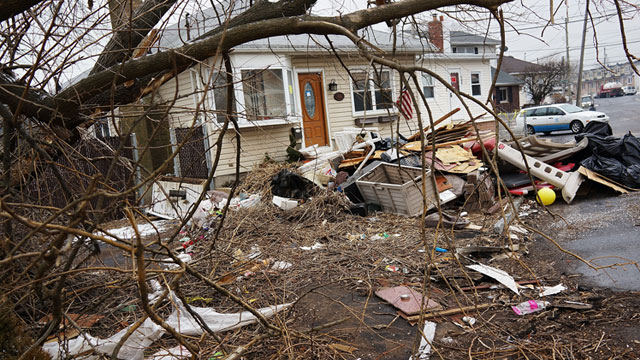 PHOTO: A destroyed home is viewed in the Oakwood Beach neighborhood in Staten Island, Feb. 5, 2013, in New York City.