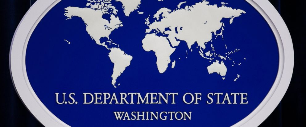 PHOTO: The US Department of State logo is displayed inside the media briefing at the US Department of State in Washington.