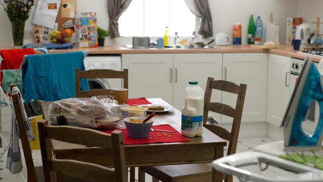 PHOTO: A messy kitchen.