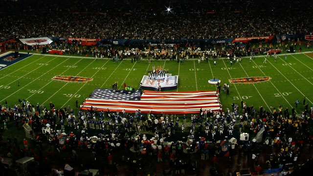 PHOTO: A flag is seen on the field prior to Super Bowl XLIV, Feb. 7, 2010 at Sun Life Stadium in Miami Gardens, Florida.