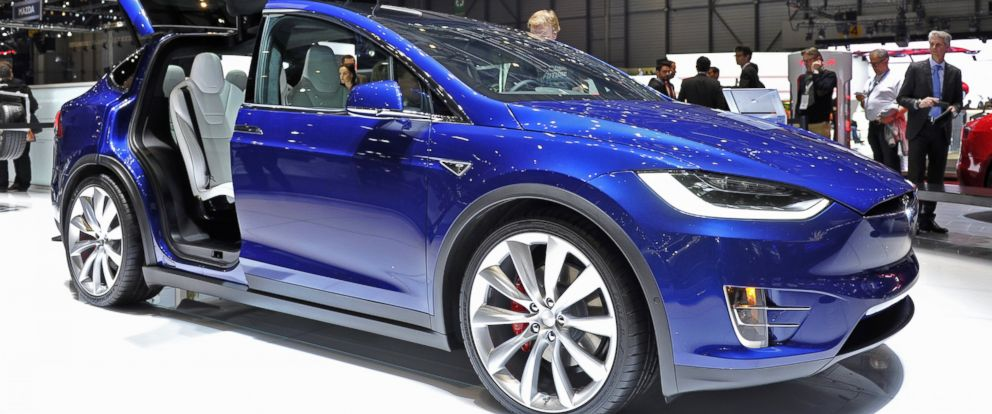 PHOTO: A Tesla Model X is displayed during the Geneva Motor Show 2016 on March 1, 2016 in Geneva, Switzerland.