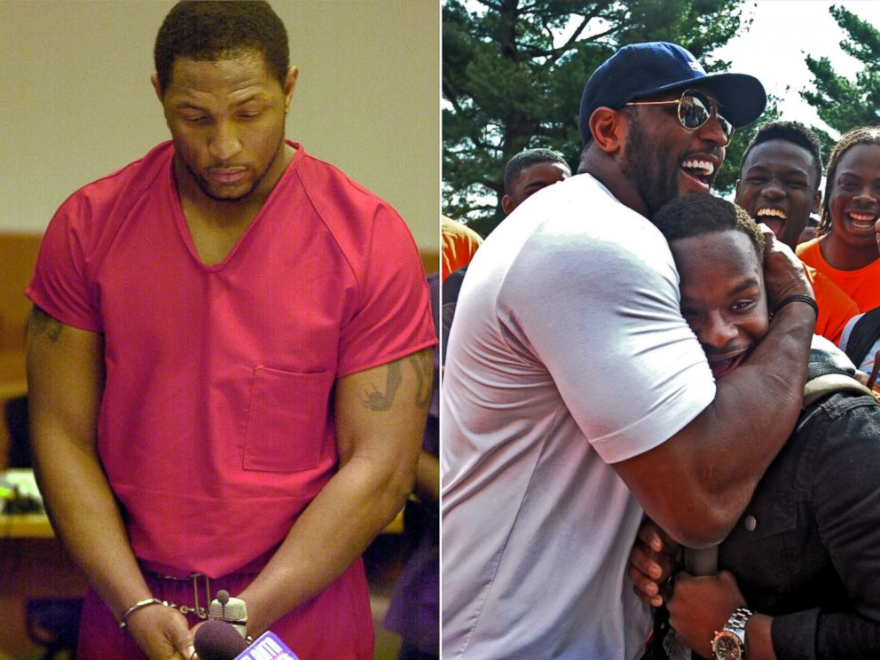 PHOTO: Baltimore Ravens linebacker Ray Lewis appears in court on murder charges, Feb. 1, 2000 and hugs a high-school student during outreach efforts in the aftermath of riots in Baltimore on April 30, 2015.