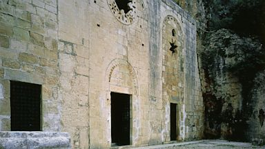 PHOTO: 11th century facade of the cave-church of St Paul