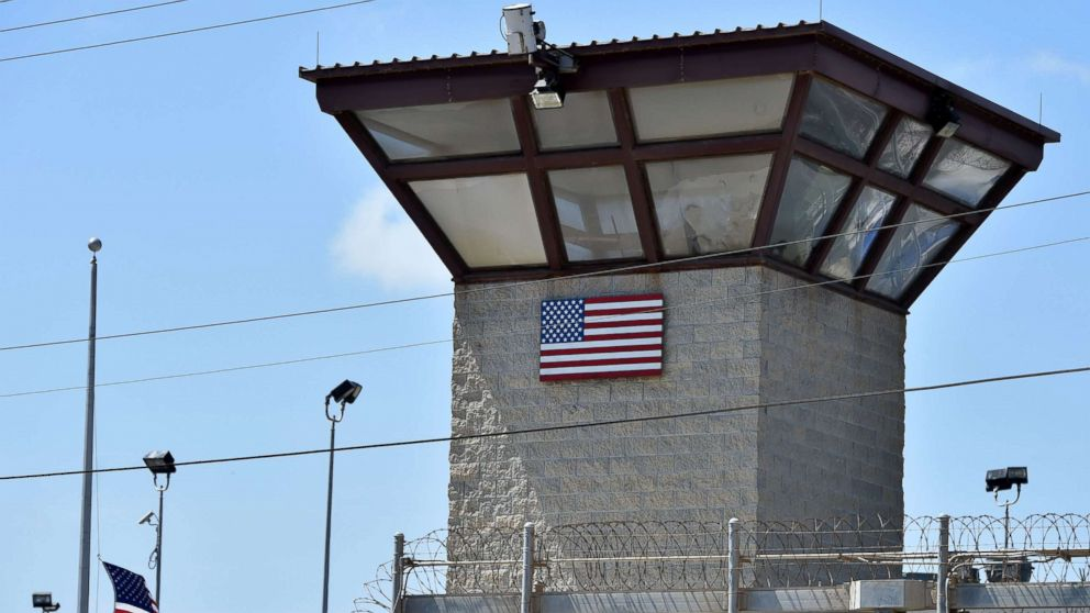 """The watch tower of """"Camp 6"""" detention facility at the US Naval Station in Guantanamo Bay, Cuba, April 8, 2014."""