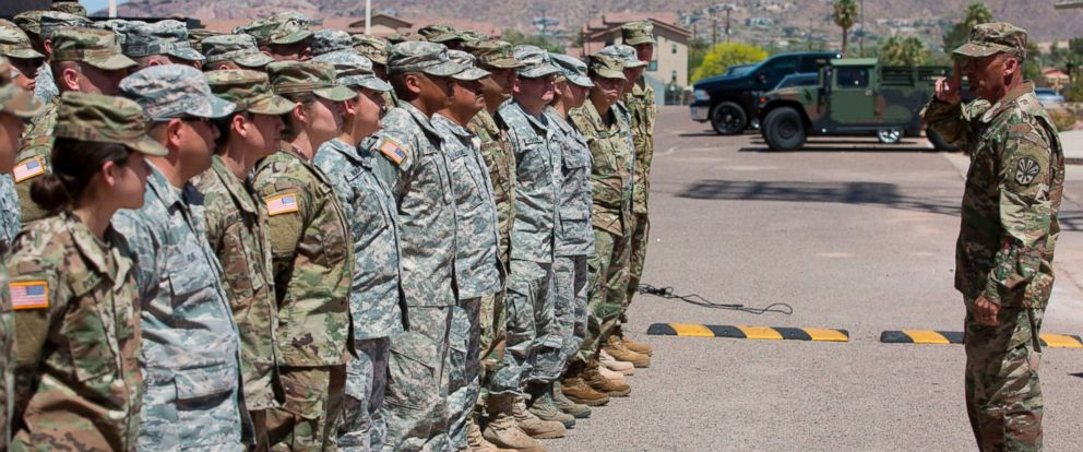 PHOTO: Members of the Arizona National Guard listen to instructions on April 9, 2018.Arizona deployed its first 225 National Guard members to the Mexican border after President Trump ordered thousands of troops to the region.