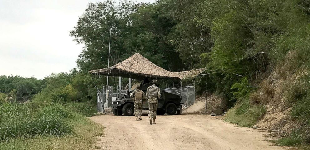PHOTO: National Guard troops guard the U.S. border in Roma, Texas, April 10, 2018. President Donald Trump requested the deployment to help curb the flow of illegal immigration.