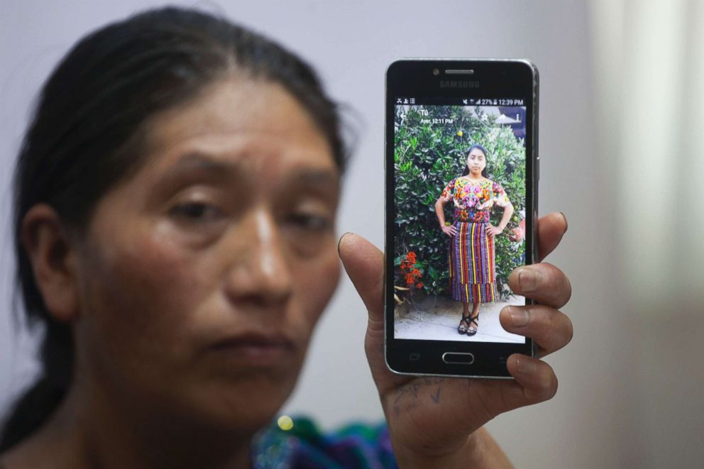 PHOTO: Dominga Vicente shows a photo of her niece, 20-year-old Claudia Patricia Gomez Gonzalez, during a press conference at the National Migrants Commission headquarters in Guatemala City, May 25, 2018.