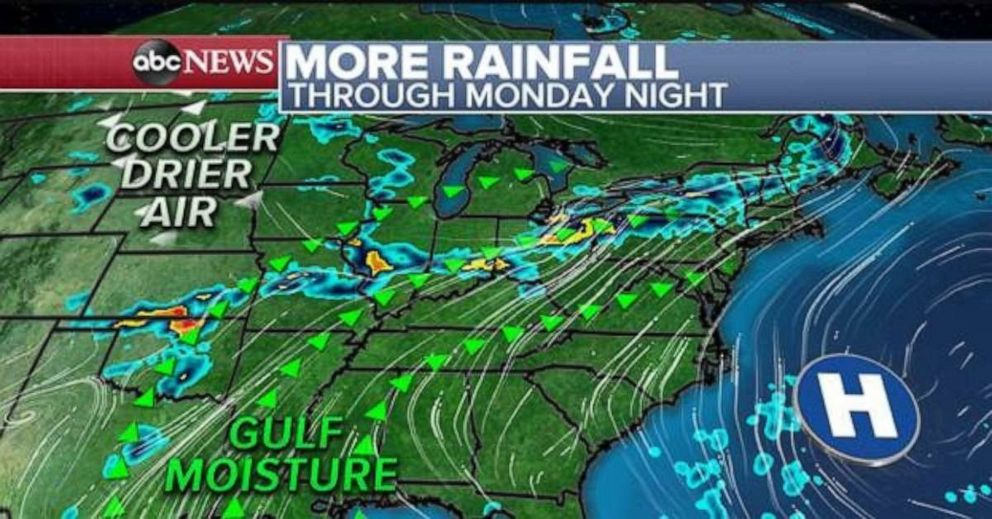 PHOTO: A northeast track of wet weather will be in place for the next few days.