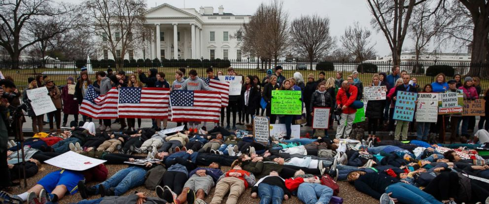 """PHOTO: Demonstrators participate in a """"lie-in"""" during a protest in favor of gun control reform in front of the White House in Washington, D.C., Feb. 19, 2018."""