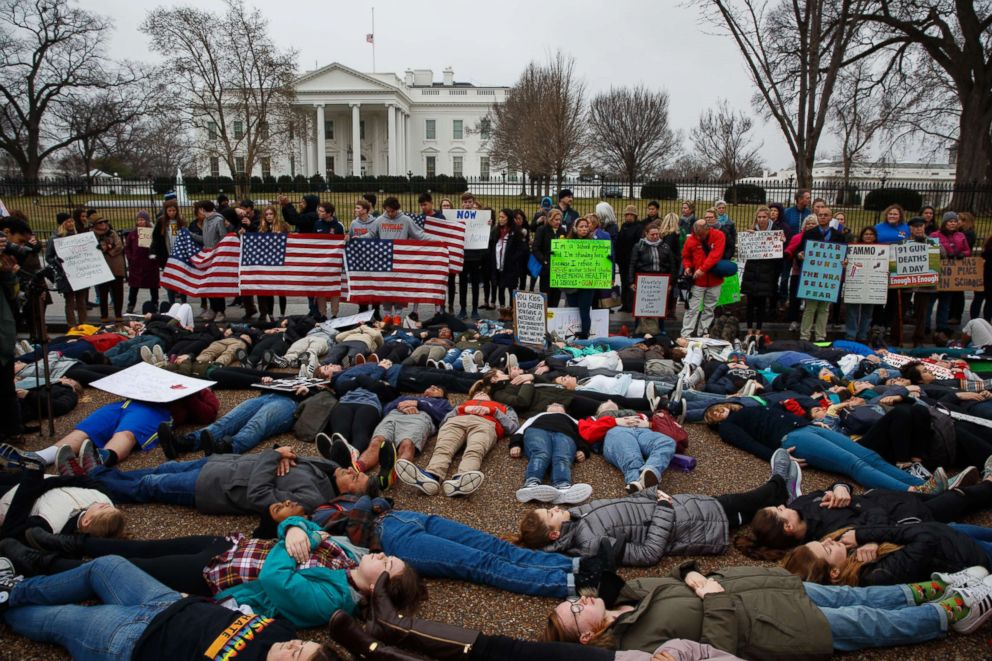 PHOTO: Demonstrators participate in a lie-in during a protest in favor of gun control reform in front of the White House in Washington, D.C., on Feb. 19, 2018.