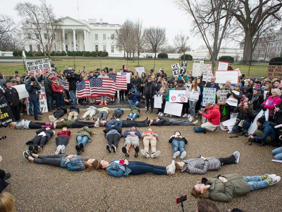PHOTO: Students stage a lie-in outside the White House on Feb. 19, 2018, to demand gun control legislation in the wake of the school shooting that took place in Parkland, Fla.