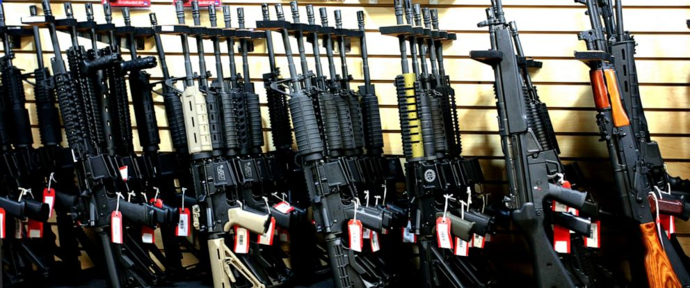 PHOTO: [UNVERIFIED CONTENT] The assault rifles rack at Discount Firearms and Ammo, one of the largest gun retailers in Nevada.