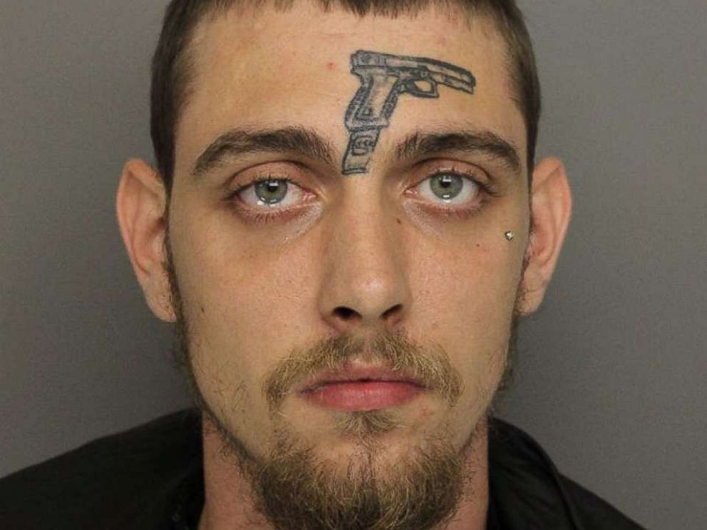 man with gun tattoo on face arrested for gun possession abc news
