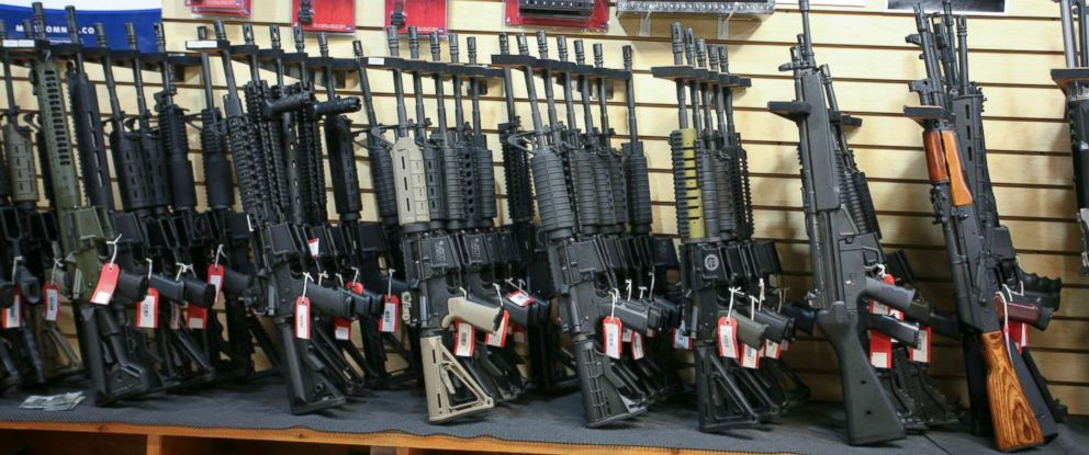 PHOTO: The assault rifles rack at Discount Firearms and Ammo in Nevada.