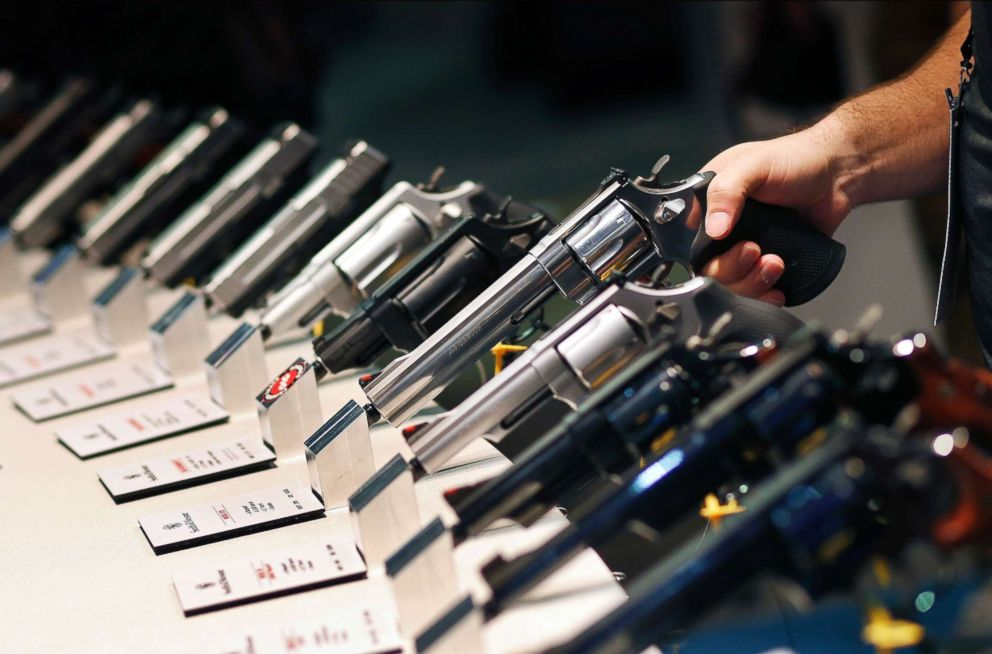 PHOTO: Handguns are displayed at a trade show in Las Vegas, Jan. 19, 2016.