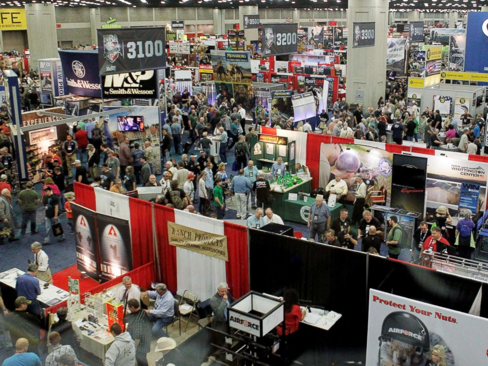 PHOTO: A overall view of the exhibit floor at the National Rifle Associations (NRA) annual meetings and exhibits show in Louisville, Kentucky, May 21, 2016.