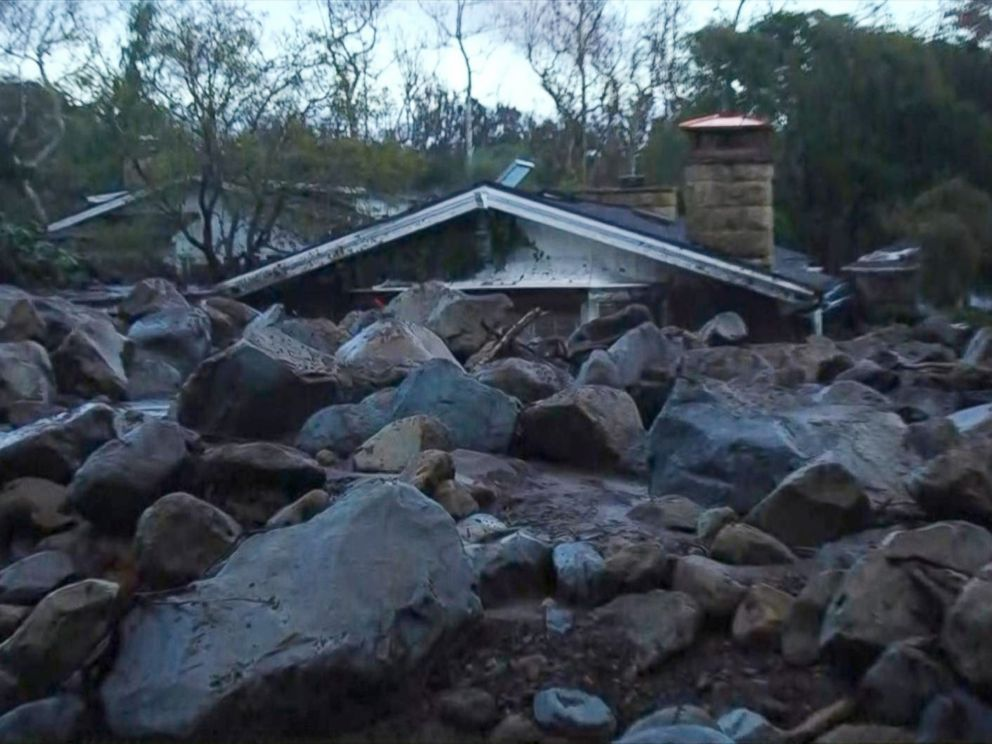 PHOTO: A home in Montecito, Calif., Jan. 10,. 2018. surrounded by boulders washed into the area after heavy rainfall.