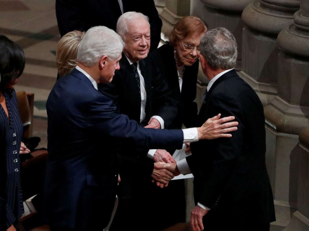 PHOTO: Former President George W. Bush greets former President Bill Clinton, former President Jimmy Carter and former first lady Rosalynn Carter at the state funeral for his father, former President George H.W. Bush in Washington, Dec. 5, 2018.