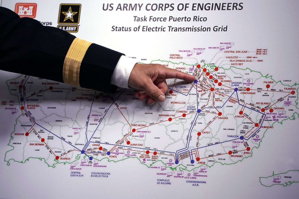 PHOTO: U.S. Army Corps of Engineers Commander Lt. Gen. Todd Semonite references a map of Puerto Ricos electric transmission grid during a news conference about the corps ongoing hurricane relief efforts at the Pentagon Oct. 20, 2017.