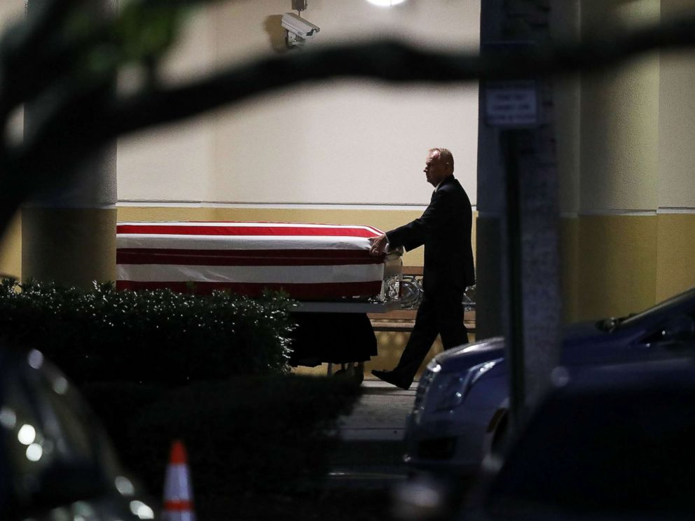 PHOTO: The casket of U.S. Army Sgt. La David Johnson is wheeled to the hearse after the viewing at the Christ the Rock Community Church on October 20, 2017 in Cooper City, Florida.