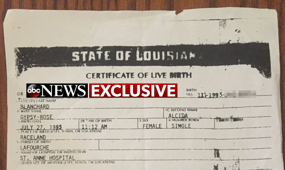 PHOTO: A doctored birth certificate Dee Dee Blanchard used for her daughter Gypsy Blanchard is pictured here.