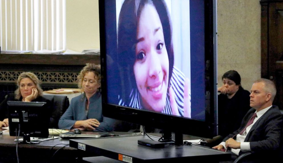 PHOTO: Defense attorneys sit near a photo of Hadiya Pendleton during closing arguments in the Micheail Ward case in the trial for the fatal shooting of Hadiya Pendleton in Chicago, Aug. 23, 2018.