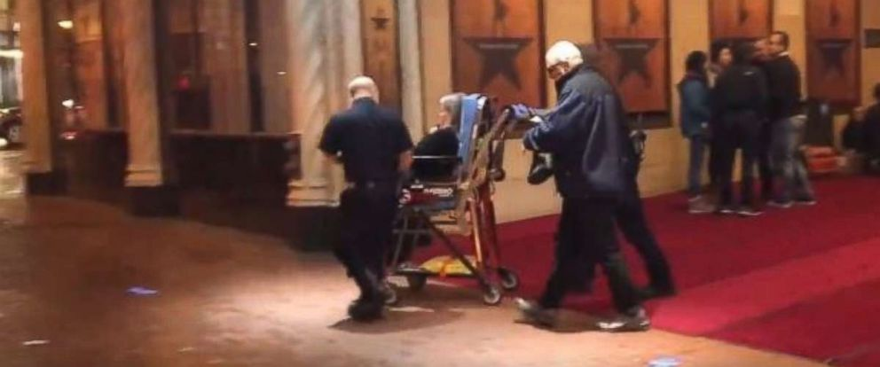 PHOTO: A theatergoer is wheeled out of the Orpheum Theater in San Francisco following a panic resulting from a medical emergency on Friday, Feb. 15, 2019.