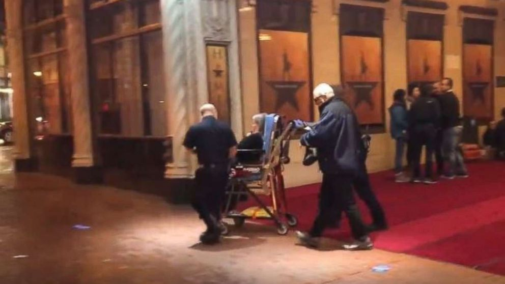 A theatergoer is wheeled out of the Orpheum Theater in San Francisco following a panic resulting from a medical emergency on Friday, Feb. 15, 2019.