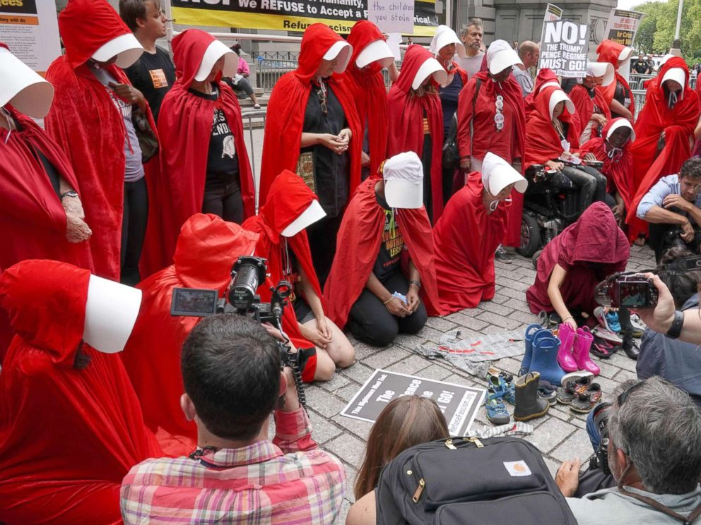 PHOTO: Women dressed dressed as characters from the novel-turned-TV series The Handmaids Tale protest in front of the Alexander Hamilton Customs House, July 31, 2018, in New York City.