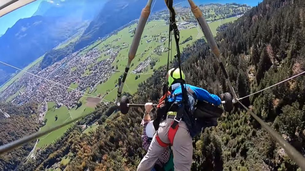 Chris Gursky shared a video of his first time hang gliding in Switzerland after the pilot forgot to connect him to the harness.